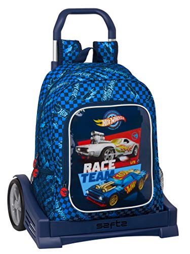 Safta Mochila 522 Espalda Ergonómica con Carro Evolution de Hot Wheels, 320x140x420mm, azul