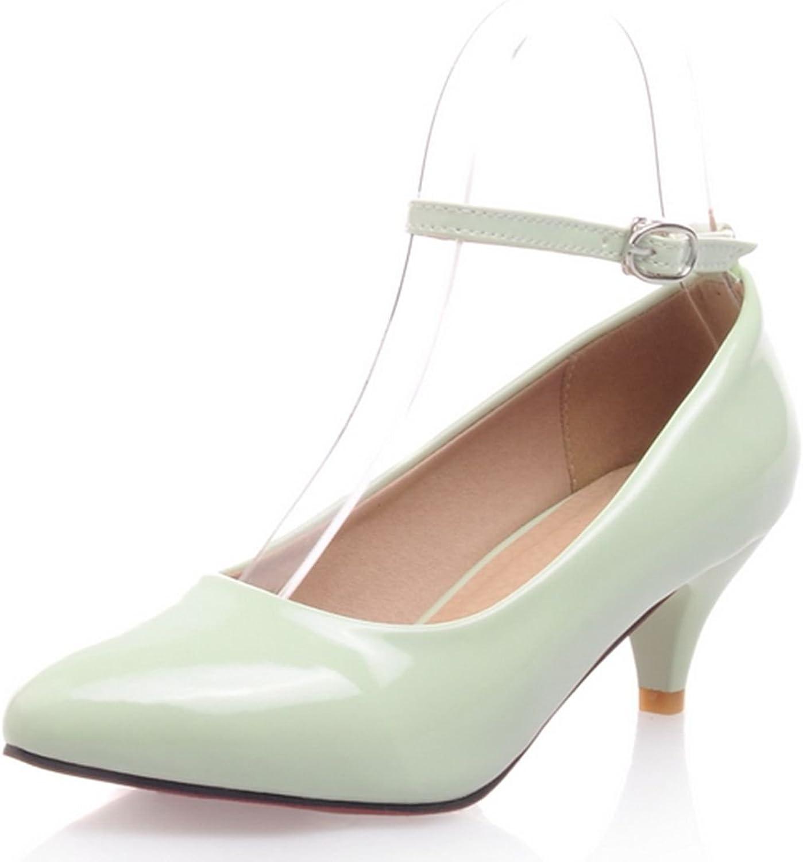 DoraTasia Shallow Buckle Pointed Toe Mid Heel Women's Mary Jane Pump