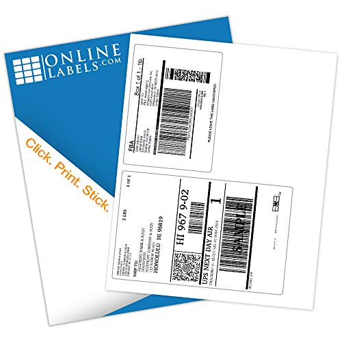 3.5 x 5 and 6.75 x 4.5 FBA Shipping Labels - Pack of 100 Sheets - Laser/Inkjet Printer - Online Labels