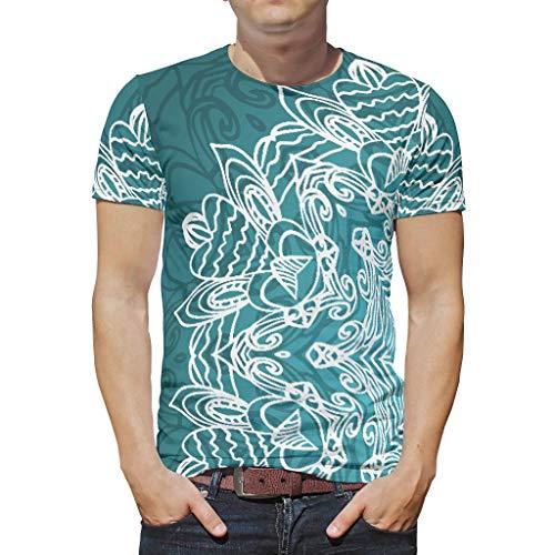 XJJ88 Drakcyaan Mandala Patronen Prints Mannen T Shirts Tiener Studenten Shirt met korte mouwen Sweethearts Outfit - Ademende slijtage