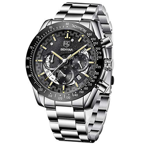 BENYAR Relojes de Pulsera con Estilo para Hombres | Reloj cronógrafo con Movimiento de Cuarzo | 30M Resistente al Agua y a los arañazos Cada ocasión (Black-1)