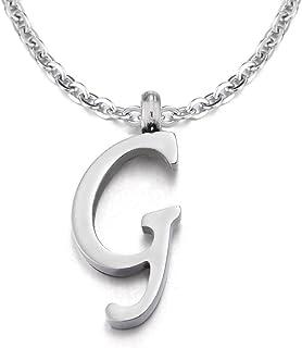COOLSTEELANDBEYOND Nome Iniziale Lettera di Alfabeto da A AZ Ciondolo, Collana con Pendente da Donna Uomo, Acciaio, 50cm C...