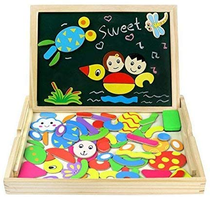 Wooden Magnetic Drawing Board Game Jigsaw Puzzles for Kids Wooden Toys...