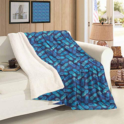 Nap Blanket Twin Size Tropical Hawaiian Pineapple in Blue Shades Hipster Exotic Summer Fantasy Super Soft Blankets Office Lunch Break Blankets 59 x 78 inch