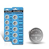 【5-Year Warranty】 CELEWELL 10 Pack CR2032 Battery CR2032H 230mAh 3 Volt Lithium Battery 2032 ECR2032 Coin Button Cell -Not for Thermometer