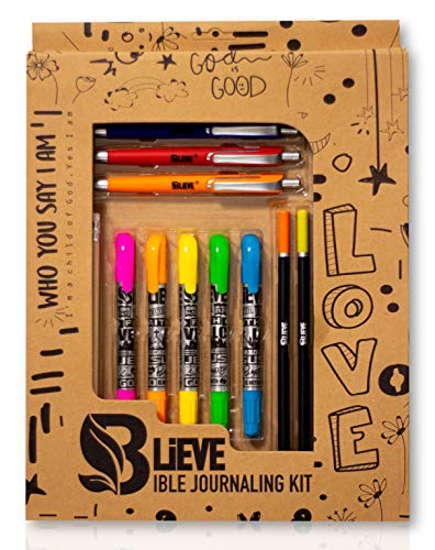 BLIEVE - Bible Journaling Kit With Gel Highlighters And Pens No Bleed, Scripture Markers and Pencils Supplies, Faith Stencils Planner Set For Coloring Journal Art Illustrated By Faith Gifts 24pcs