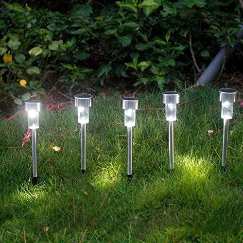 Belief Rebirth Paquete de 5 luces LED solares para exteriores de camino, de acero inoxidable, luces LED para paisaje, camino, patio, terraza, entrada y jardín, cromo