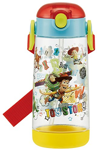 Skater Water Bottle Clear for Children Bottle Straw Toy Story Disney PDSH5