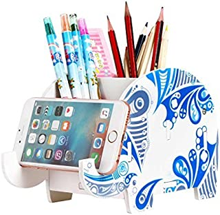 COOLBROS Elephant Pencil Holder with Phone Holder Desk Organizer Desktop Pen Pencil Mobile Phone Bracket Stand Storage Pot Holder Container Stationery Box Organizer (Glacial Elephant)