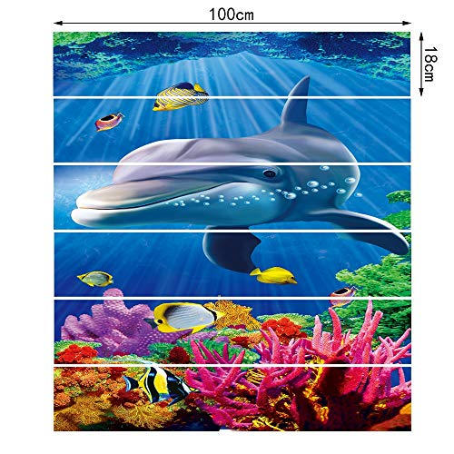 TNFUFP stickers voor trappen, 6 stks/set Dolphin Tile muur trap Sticker Vinyl Lijm Pvc Verwijderbare muur vloer Sticker Home Decoration Mural Poster Wallpaper 18 * 100cm