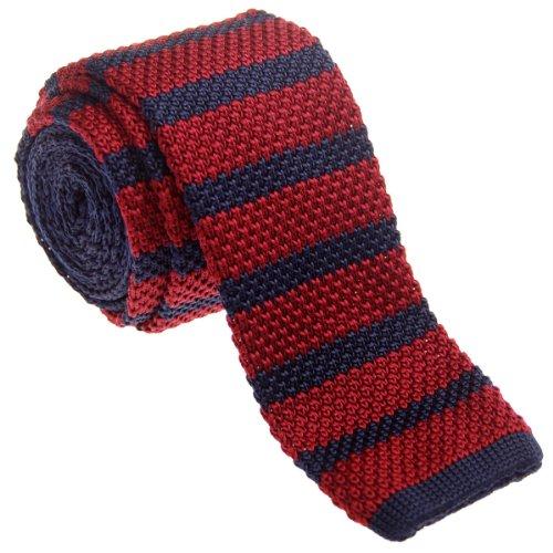 Retreez Herren Schmale Krawatte Strickkrawatte Knit Tie Vintage Smart Casual 5 cm - burgunder, weinrot und marineblau