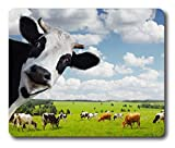 Ice Rabbit Mouse Pad Funny Cow with Green Rural Meadow Rectangle Gaming Mousepad Non-Slip Rubber Mouse Pad
