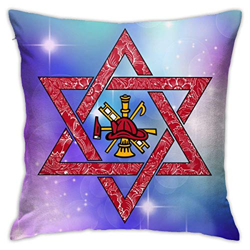 v-kook-v Firefighter Star of David Decorative Square Throw Pillow Covers Cushion Case Pillowcases 18 X 18 Inch