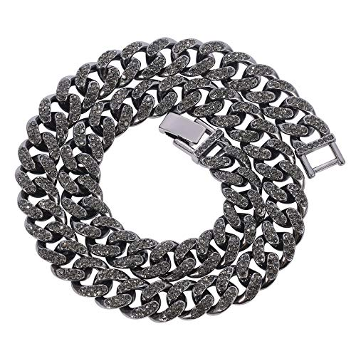 rongji jewelry Mens Womens Cuban Link Necklace - Heavy Strong Cuban Link Chain Fashion Black Silver Color Iced Out Miami Curb Chain with Bling Bling Clear Rhinestones (Black, 18)