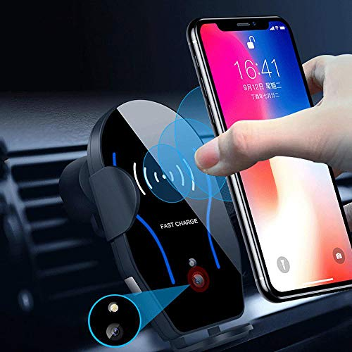 FOONEE Sensor infrarrojo de 10 W, cargador inalámbrico para coche, soporte para teléfono móvil, sujeción automática, cargador de inducción, para iPhone XS Max XR X 8 Plus Samsung Huawei SONY Google
