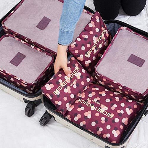 Nueva bolsa de almacenamiento de color de sarga 6 juegos de ropa paquete de acabado portátil de malla caja de almacenamiento organizador de equipaje embalaje cubo de vino rojo flor