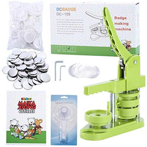 MK.Bear Installation-Free Button Badge Maker Machine 58mm (2¼ in) DIY Pin Button Maker Press Machine Badge Punch Press with Free 100pcs Button Parts&Pictures&Circle Cutter&MK.Bear Magic Book (Green)