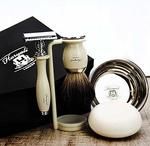 Haryali London Kit de afeitado para hombre, 5 piezas, con cuchilla de afeitar de doble filo, cepillo de afeitado de pelo de tejón negro, soporte, cuenco y jabón perfecto para hombres