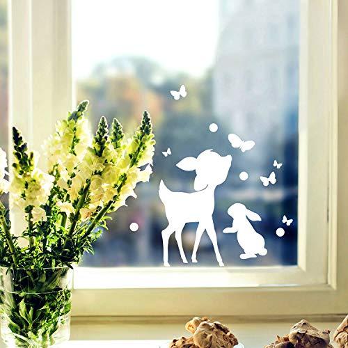 ilka parey wandtattoo-welt Fensterbild Hase Häschen & Rehkitz -WIEDERVERWENDBAR- Fensterdeko Fensterbilder Osterhase REH & Schmetterlinge M2347