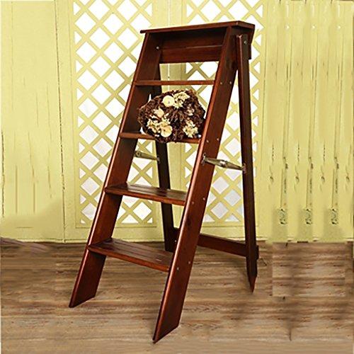 PENGFEI Pliable Stool Ladder Multifonction Usage Double 5 Étapes Bois Massif 3 Couleurs, 34 * 60 * 88CM (Couleur : Light walnut)