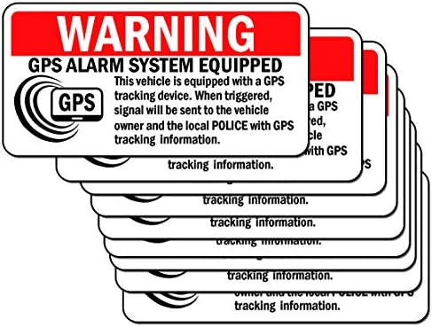 10 Set Anti Theft Car Vehicle Stickers with GPS Tracking Warning Sign Decal or Static Cling product image