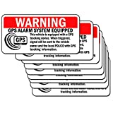 10 Set Anti-Theft Car Vehicle Stickers with GPS Tracking Warning Sign Decal or Static Cling Decal Inside Car Window 2 x 4 Inch (Sticker)