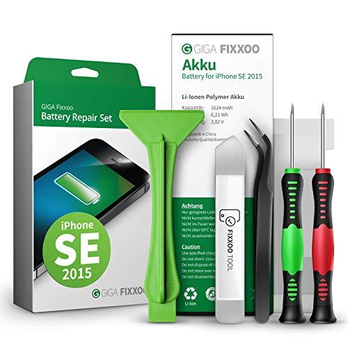 GIGA Fixxoo Akku Reparatur-Set für iPhone SE | Kapazität wie Original-Akku | Ersatz-Akku mit Werkzeug-Kit für einfachen Austausch mit Anleitung bei defekter Batterie