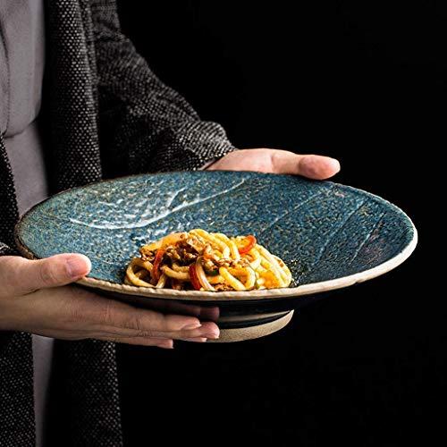 WEI-LUONG Comedor Retro Ensalada Tazón de cerámica Creativa de 10 Pulgadas del Cuenco de Fruta del hogar Ramen Recipiente Poco Profundo Plato de Sopa Japonesa Vajilla Cocina