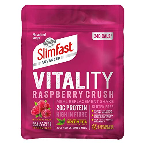 SlimFast Advanced Vitality High Protein Meal Replacement Powder Shake, Raspberry Crush, 400 g