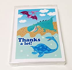 Dinosaur Theme Blank Thank You Note Card - 10 Boxed Cards  Envelopes