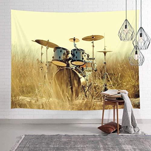 kjbfkghj Tapiz,Western Country Music Instrumentos Musicales Grunge Drum in Field Colgante de Pared Personalizado decoración de la Pared de Tela decoración de la Pared -51x59 Pulgadas (130x150 cm)