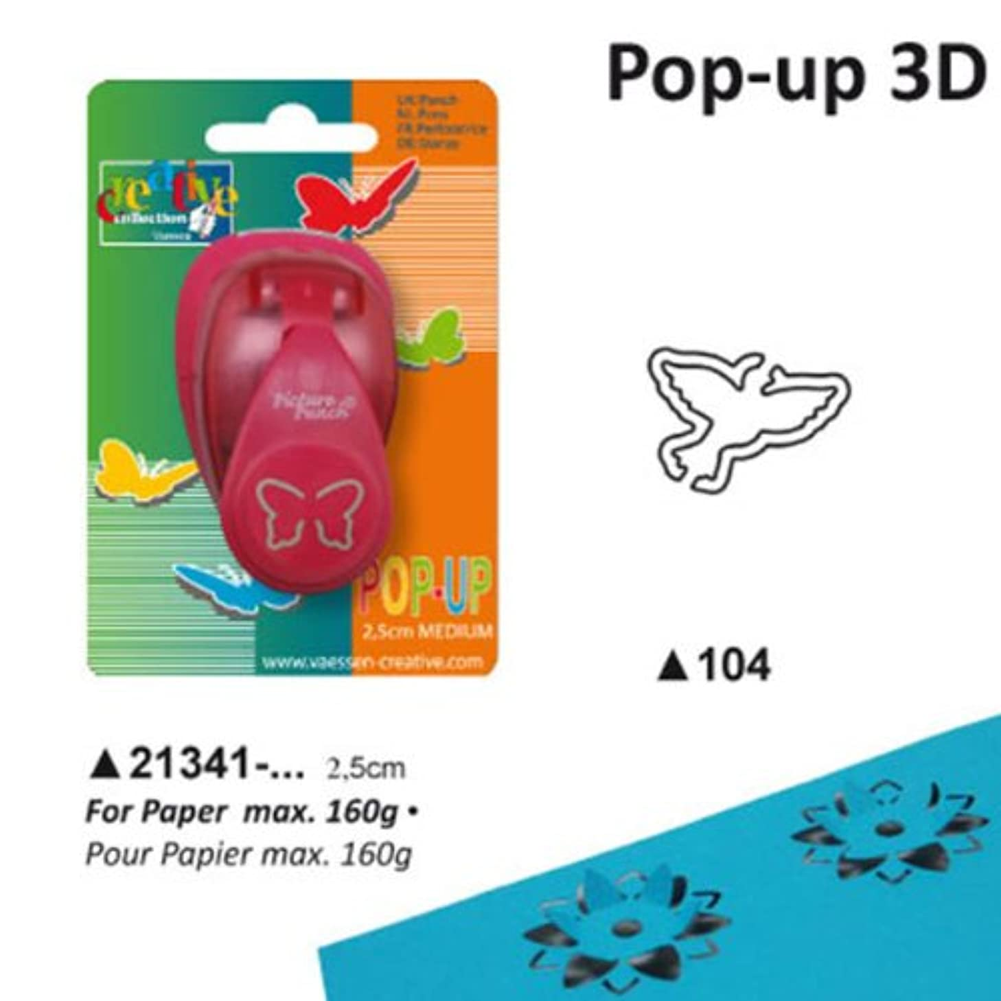 Vaessen Creative Pop Dove Craft Punch, Multi-Colour, 12 x 8.5 x 4.5 cm