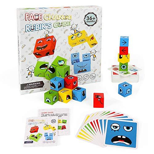 O-Kinee Lustiges Ausdruckspuzzle,Holzwürfel Spielzeug,Spielzeug Gesicht ändern Würfel,Expression Puzzle Building Cubes,Denk-Training Lernspielzeug,Geschenk für Kinder Vorschule (3D-Puzzles)