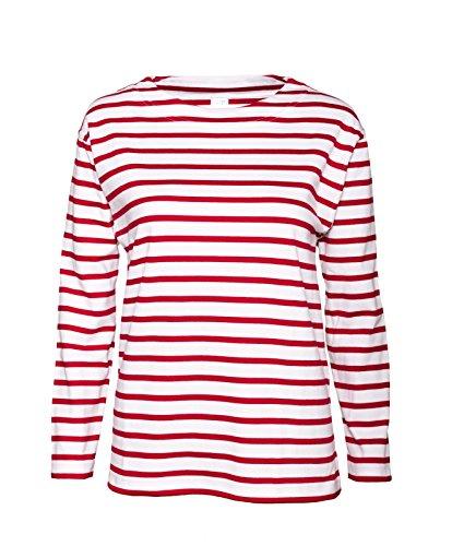 modAS Bretonisches Fischerhemd Damen, Langarm - Streifenshirt, Ringels, 48, weiß/rotgestreift