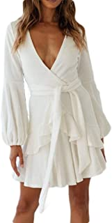FSSE Women Fall & Winter Long Sleeve V-Neck Solid Color Ruffle Flare Mini Dress