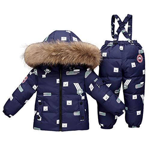 NXLWXN Kinder Schneeanzug 2Tlg Mädchen Jungen Daunenjacke Mit Künstliches Fell Kaputze Und Daunenhose Bekleidungsset,Blue2,110cm