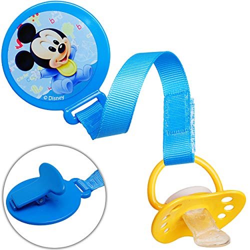 alles-meine.de GmbH Schnullerkette / Schnullerhalter - mit Clip & Stoffband - Disney - Mickey Mouse - BPA frei - Klett - blau Kette - Stoff - Schnuller - Spielzeughalter / Schnul..