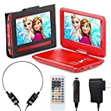 eXuby Portable DVD Player for Car, Plane & More - 7 Car & Travel Accessories Included - 9 Inch Swivel Screen - Whopping 6 Hour Battery Life - Perfect Portable DVD Player for Kids - Red