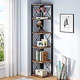 Tribesigns 6-Tier Corner Shelf, 70.8 Inch Tall Rustic Corner Bookshelf Storage Etagere Bookcase for Living Room, Corner Display Rack Plant Shelf for Home Kitchen Small Space (Vintage)