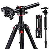 K&F Concept Trepied Monopode Appareil Photo Rouge TM2515T, Trepied Professionel Compact pour DSLR, Trepied Voyage Leger en...