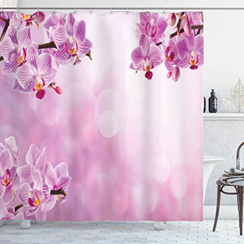 ABAKUHAUS Rosa Duschvorhang, Orchid Frühling Blütenblätter Spa, Wasser Blickdicht inkl.12 Ringe Langhaltig Bakterie und Schimmel Resistent, 175 x 240 cm, Rosa