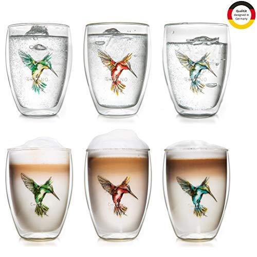 Creano doppelwandige Tee-Gläser, Cappuccino-Glas, Thermoglas Hummi im Kolibri Design, 6er Set, 250 ml in exklusiver Geschenkbox, blau/rot/grün