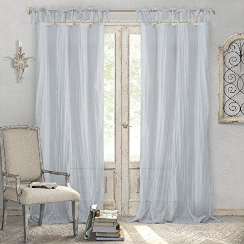 Elrene Home Fashions Crushed Semi-Sheer Adjustable Tie Top Single Panel Window Curtain Drape, 52