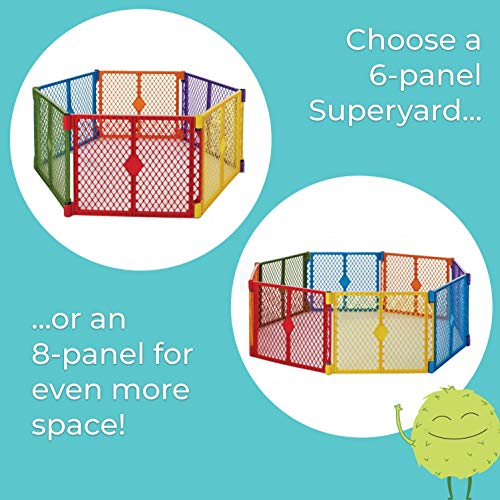 """Toddleroo by North States Superyard Colorplay 8 Panel Baby Play Yard: Safe play area anywhere. Folds up with carrying strap for easy travel. Freestanding. 34.4 sq. ft. enclosure (26"""" Tall, Multicolor)"""