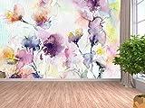 Oedim Papel Pintado para Pared Acuarelas Formando Flores | Fotomural para Paredes | Mural | Papel Pintado |350 x 250 cm | Decoración comedores, Salones, Habitaciones