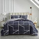 3 Piece Reversible Quilt Set Navy King Size 102x88 Soft Microfiber Lightweight Coverlet Bedspread Summer Comforter Set Bed Cover for All Season (1 Quilt+ 2 Shams)