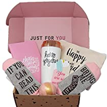 Milky Chic Just For You Motivational Gift Set, Encouraging Appreciate Gift Package for Family Friends and Coworkers with Travel Mug and Lid, Soft Socks, Journal, Strawberry Bath Bomb, Makeup Bag