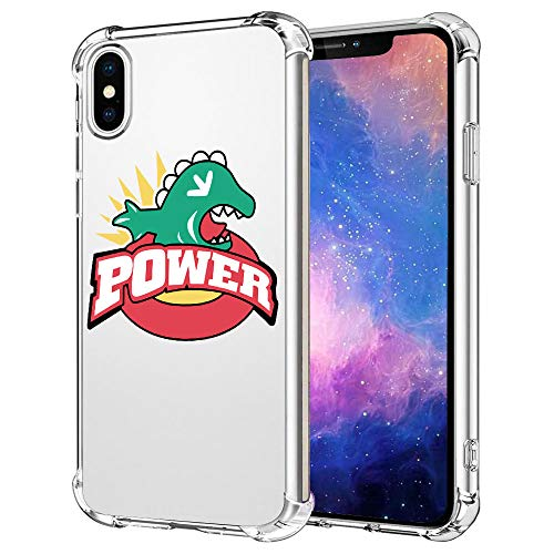 iPhone Xs Max Case, Funny Anime Dinosaur Power iPhone Xs Max Cases for Men Women Boy Girls Fan,Luxury Design HD Pattern Back+Soft Silicone TPU Shock Protective Case for iPhone Xs Max