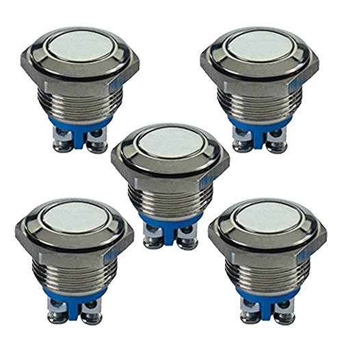 Bouton poussoir momentané Mintice™ x 5 - Pour voiture - Métal inoxydable - 16 mm - 3 A/250 V - 2 Pin
