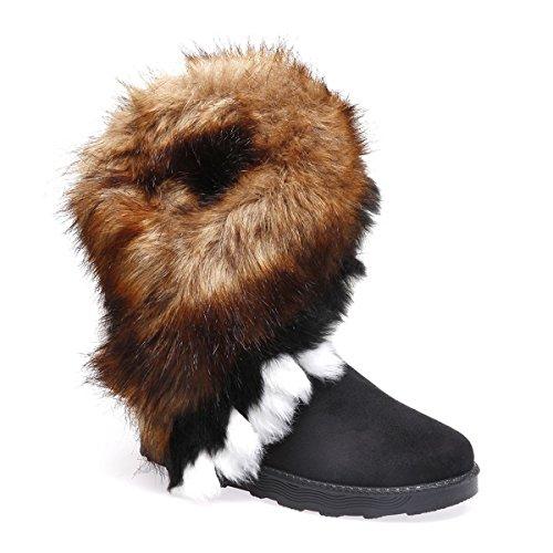 La Modeuse - Boots en suédine avec col en Fourrure Multicolore (Noire, Marron, Blanche)